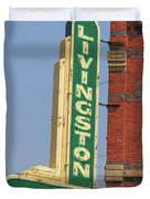 Livingston Bar And Grill Old Neon Sign Montana Duvet Cover