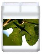 Lizard On A Fig Leaf Duvet Cover