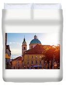 Ljubljana Church And Square Sunset View Duvet Cover