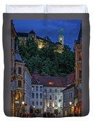 Ljubljana Night Scene - Slovenia Duvet Cover