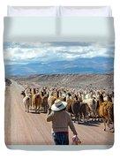 Llama Herd On Road Duvet Cover