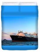 Lng Carrier Grand Aniva At Sunset On The Roads Of The Port Of Nakhodka.  Duvet Cover