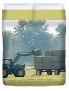 Loading Hay At Dusk Duvet Cover