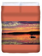 Loan Boat On A River At Sunset Duvet Cover