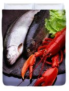 Lobster And Trout Duvet Cover
