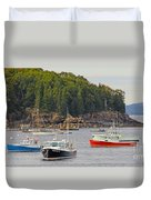 Lobster Boats In Bar Harbor Duvet Cover by Jack Schultz