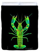 Lobster Crawfish In The Dark - Greenlime Duvet Cover