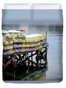 Lobster Traps In Winter Duvet Cover