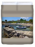 Local Boats In Harbour Duvet Cover