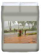Local People Crossing The Road In Malawi Duvet Cover