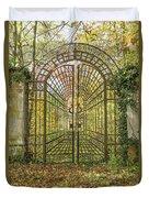 Locked Iron Gate In The Autumn Park.  Duvet Cover