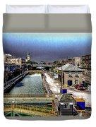 Lockport Canal Locks Duvet Cover