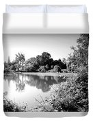 Lodi Pig Lake Reflections B And W Duvet Cover