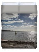 Loe Beach Windsurfers Duvet Cover
