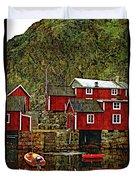 Lofoten Fishing Huts Overlay Version Duvet Cover