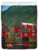 Lofoten Fishing Huts Duvet Cover