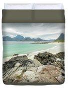 Lofoten Island Beach Scene Duvet Cover