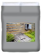 Log Cabin Storm Cellar Door Duvet Cover by Paul W Faust -  Impressions of Light