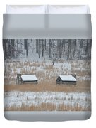 Log Cabins In Valley Forge Duvet Cover