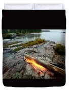 Log On Fire Manitoba Lake Wilderness Duvet Cover