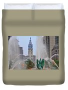 Logan Circle Fountain With City Hall In Backround 2 Duvet Cover by Bill Cannon
