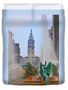 Logan Circle Fountain With City Hall In Backround 3 Duvet Cover