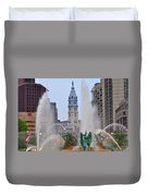 Logan Circle Fountain With City Hall In Backround 4 Duvet Cover by Bill Cannon