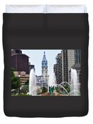 Logan Circle Fountain With City Hall In Backround Duvet Cover by Bill Cannon