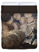 Logger Cutting Tree Trunk, Cameroon Duvet Cover