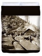 Logging With Oxen At A Saw Mill Sonoma County California Circa 1900 Duvet Cover