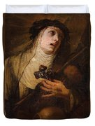 Lombard School, 17th Century Saint Catherine Of Siena Duvet Cover
