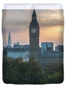 London Big Ben And The Shard Sunrise Duvet Cover