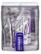 London Telephone Purple Blue Duvet Cover