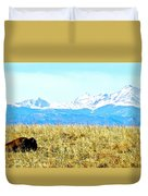 Lone Buffalo Watching The Rocky Mountains Duvet Cover