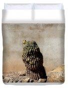 Lone Cactus In Sepia Tone Duvet Cover