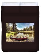 Lone Canoes, Winchester Lake Duvet Cover