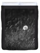 Lone Dandelion Black And White Duvet Cover