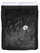 Lone Dandelion Black And White Duvet Cover by Jill Reger