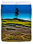 Lone Fir - Hole #15 At Chambers Bay Duvet Cover