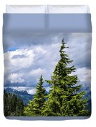Lone Fir With Clouds Duvet Cover