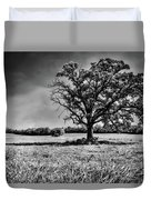 Lone Oak Tree In Black And White Duvet Cover
