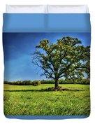 Lone Oak Tree In Wisconsin Field Duvet Cover