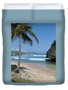 Lone Palm On Barbados Coast Duvet Cover