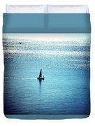 Lone Sailboat At Dawn Duvet Cover