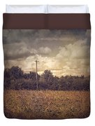 Lone Telephone Pole In Autumn Field Duvet Cover