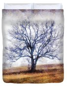 Lone Tree On Hill In Winter Duvet Cover