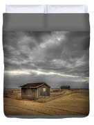 Lonely Beach Shacks Duvet Cover by Evelina Kremsdorf