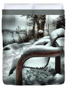 Lonely Bench In Snowfall Duvet Cover