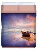 Lonely Boat And Amazing Sunset At The Sea Duvet Cover