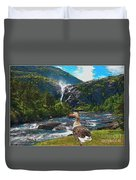 Lonely Near The Waterfall 1 Duvet Cover